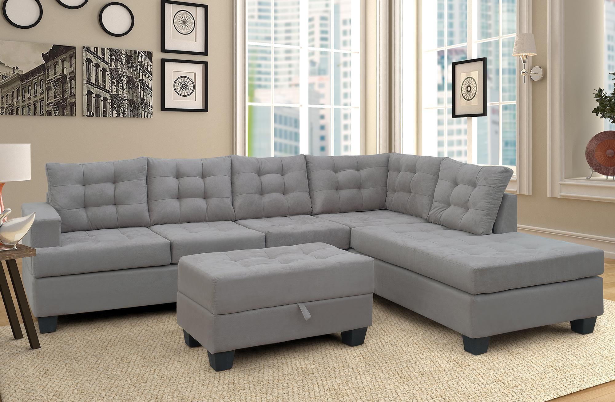 Azionario statunitense, 3-Piece Divano con Chaise Lounge e stoccaggio ottomano L Forma del sofà mobilia del salone SM000049EAA (Grigio)