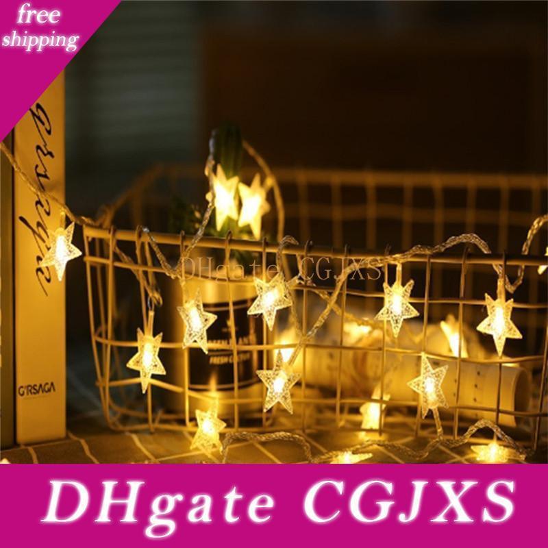 1m / 3m / 6m / 10m Led estrela feericamente Garland Luzes Cordas da novidade para Ano Novo casamento do Natal Interiores Decoração a pilhas
