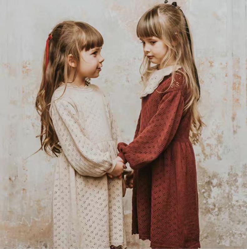 Kız Moda Triko Elbise Çocuk Hollow Uzun kollu Etek Kızlar Lolita Katı Renk Delik Dantel Çocuklar Prenses Giydirme Fashon Örme Elbiseler