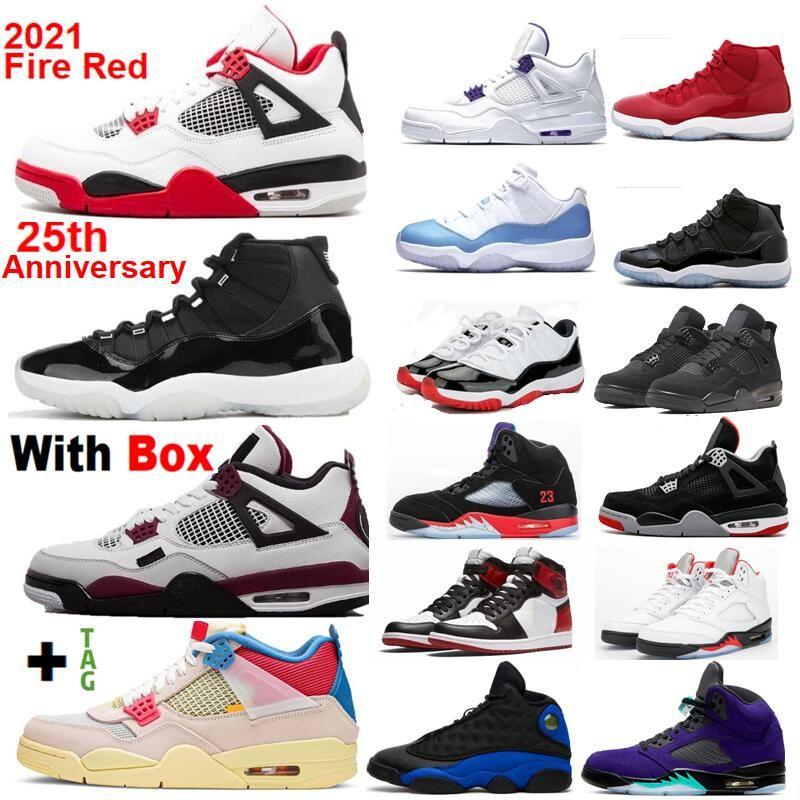 Novo 2021 11 25º Aniversário 4 Fogo Vermelho 5 Quais são os 4 Criados Space Jam Basketball Shoes 4 homens