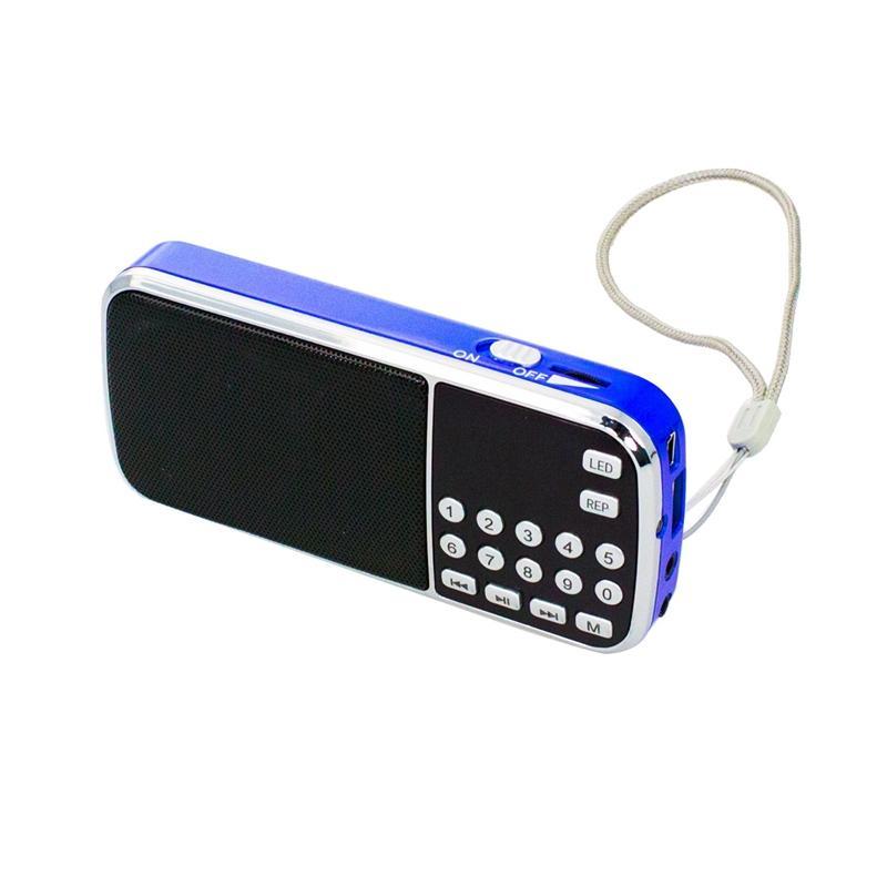 L-088 Mini-MP3-Musik-Player-Lautsprecher mit LED-Auto Scan FM Radio-Empfänger-Unterstützung TF / SD / USB (Schwarz + Blau)