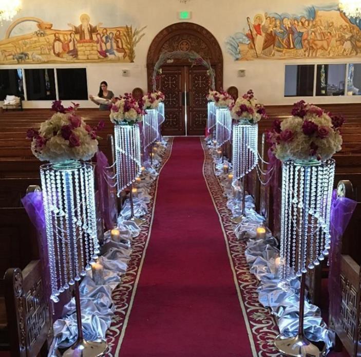 Venda a granel cintilante cristal suprimentos clara guirlanda lustre bolo de casamento estande festa de aniversário decorações para os melhores centros de mesa