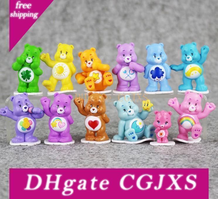 12pcs do arco-íris carrega o coração estilo japonês Crianças Brinquedos Anime Mini Toy Action Figure Crianças brinquedos para meninos Meninas do presente / Lote Atacado