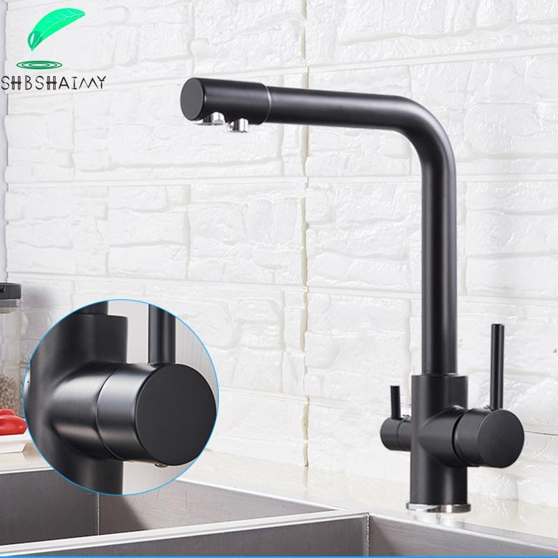 Filtro rubinetto della cucina nero opaco potabile acqua pura colpetto della cucina piattaforma ha montato raddoppiano le maniglie a 3 vie acqua calda e fredda Mixer T200810