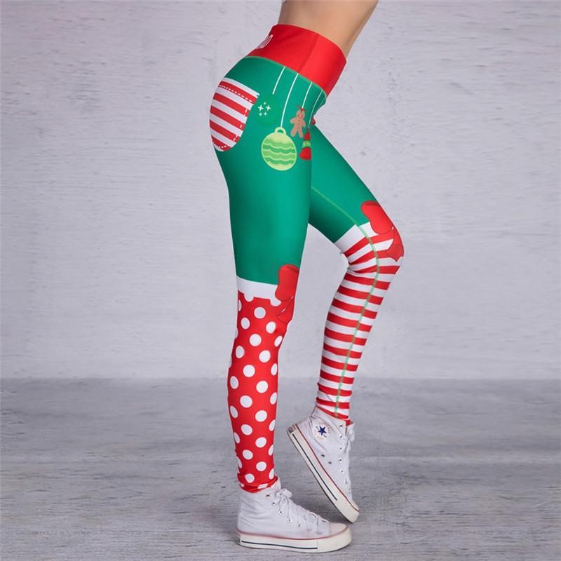 PrQGD forma fisica di natale stampato stretto matita le donne strette dell'anca vita alta nuove ghette pantaloni matita per i pantaloni