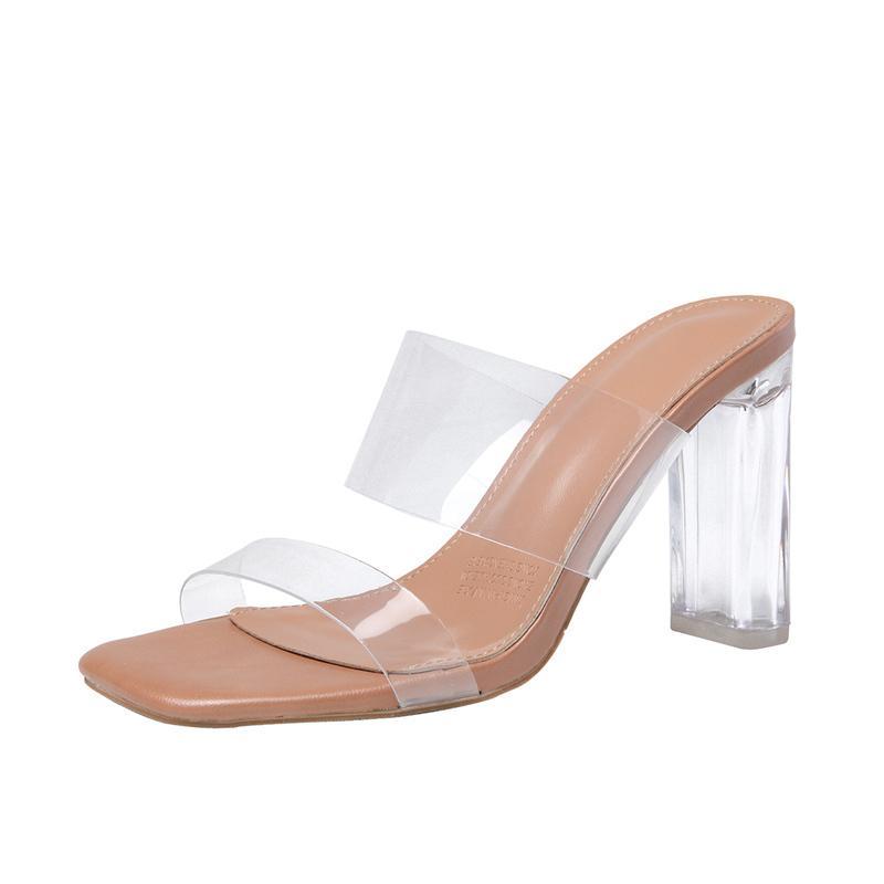 Mujer transparente sandalias de tacón alto de la nueva del verano salvaje Hada del viento cristal de la manera más segura Chunky-Zapatos de tacón Sandalias Mujer Tenis