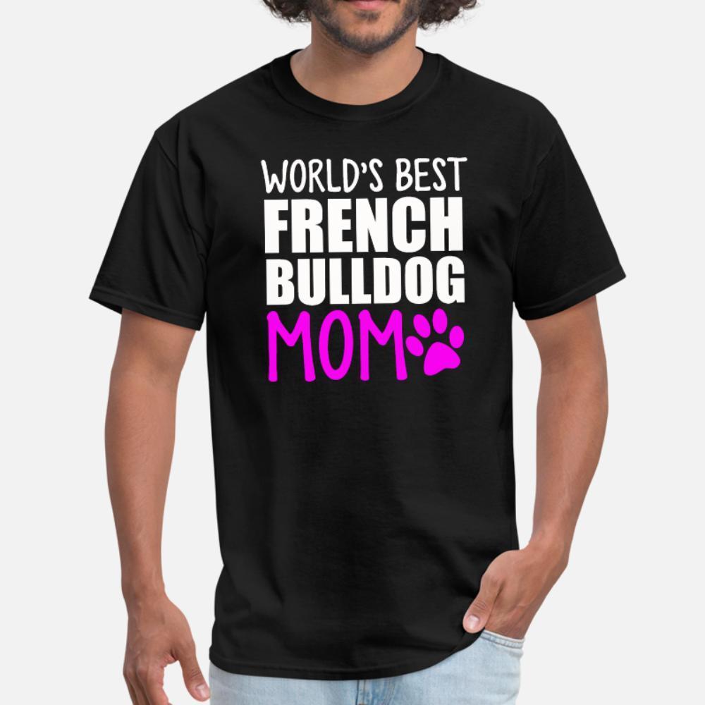 Mundo mejor Frenchie Madre hombres de la camiseta del carácter 100% algodón tamaño S-3XL Fit vendimia ocasional de la camisa del estilo del verano original