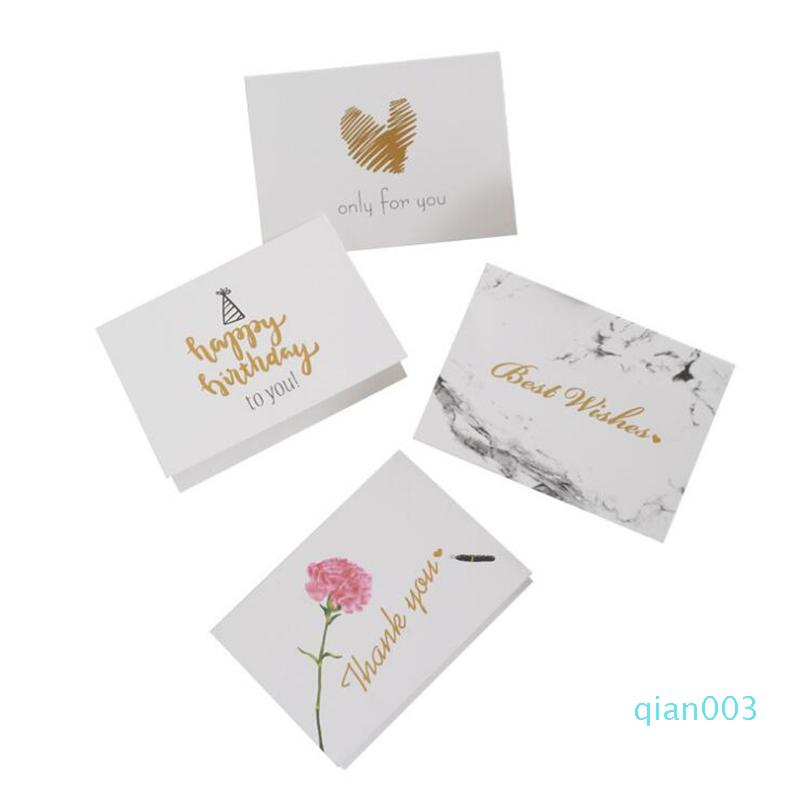 Free Shipping 10-pack Greeting Cards, Gold Words Modern Floral, Birthday Cards, Baby Shower Wedding Sympathy Cards