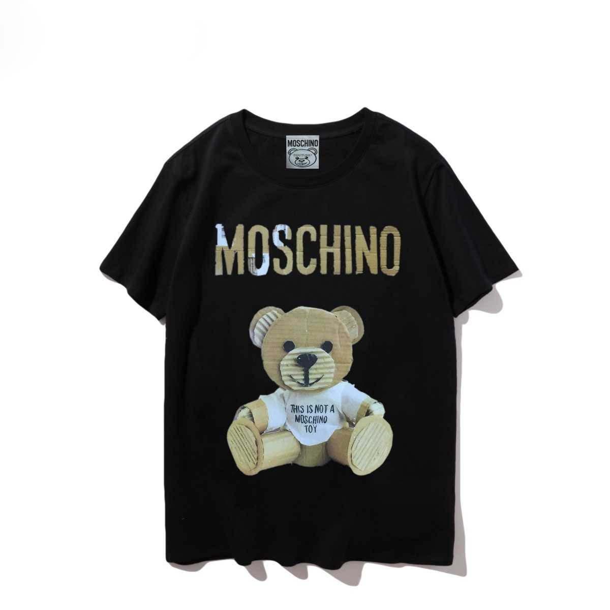 Moschino Classic Designers cotone Tshirt Mens allentato traspirante magliette lettera stampata Uomini Donne Skateboard Hip Hop T superiori S-XXL # 82224