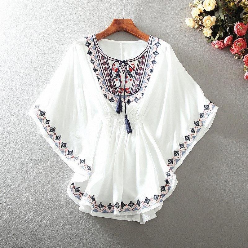 2020 2020 Новый Урожай BOHO Этнические вышивки Цветочные рубашки Блуза лета женщин Сыпучие хлопок Batwing Chic Хиппи Топы Blusas Mujer V2of #