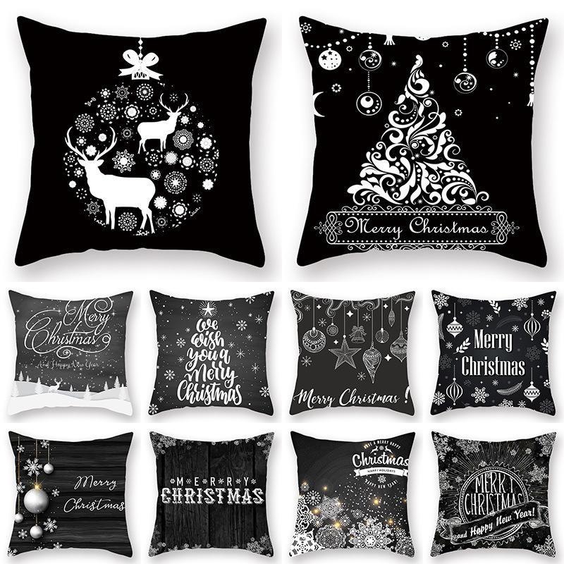 Navidad Imprimir almohada hogar de la manera suave funda de almohada decorativa del sofá del dormitorio Negro Cojín caliente de la venta Fundas