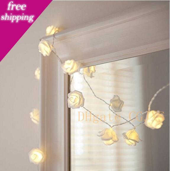 Livraison gratuite 1pcs / Lot batterie 2 .2m 20 Ampoules LED étanche Jaune Fleur Rose Chaîne Fée Lumière Salle de mariage Jardin Décoration de Noël