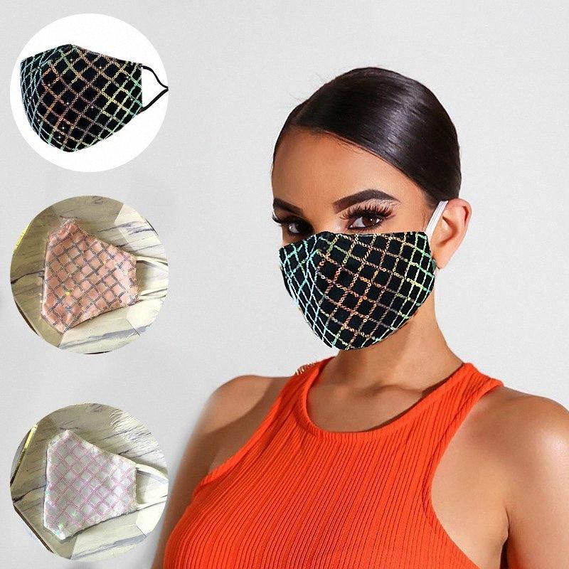 Masques populaires Mode Sequin bling visage Masques Europe American Design populaire d'été mince antipoussière Respirabilité Lavable Masque DHD489 Vj2P #