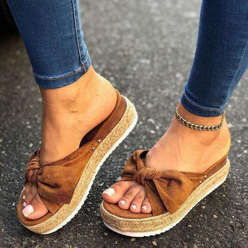 Pantoufles Été Femmes Mode Papillon Bow-Knot Plateforme Chaussures Casual Plage Dames Plus Taille