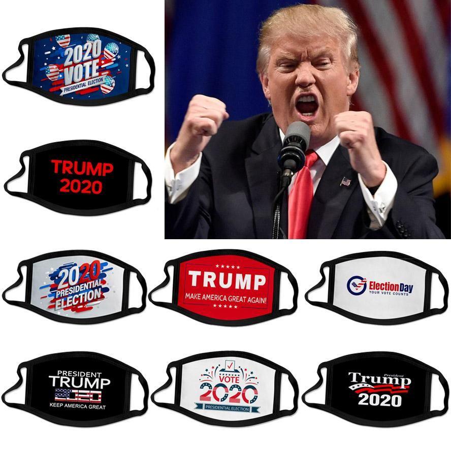 Novo designer máscara facial 2020 Trump eleição presidencial campanha adultos reutilizáveis cara preta máscaras Trump impressão máscara de protecção Dustproof