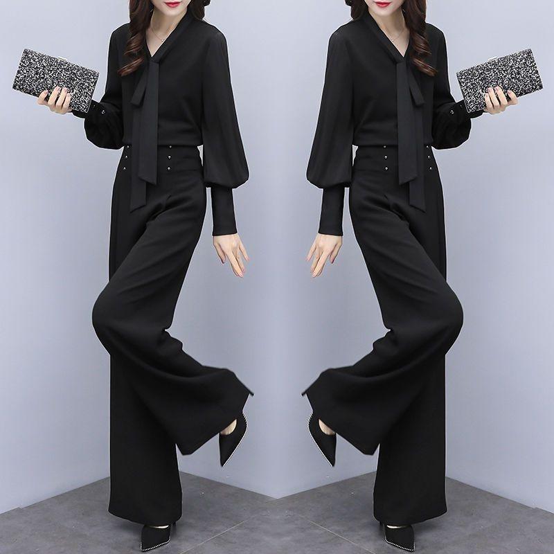 l6ErG pezzo / larghezza 2019 nuovi pantaloni moda femminile coreano soddisfare Ampi vestito di pantaloni gamba stile gamba temperamento sciolto dimagrante due pezzi qcNYo q