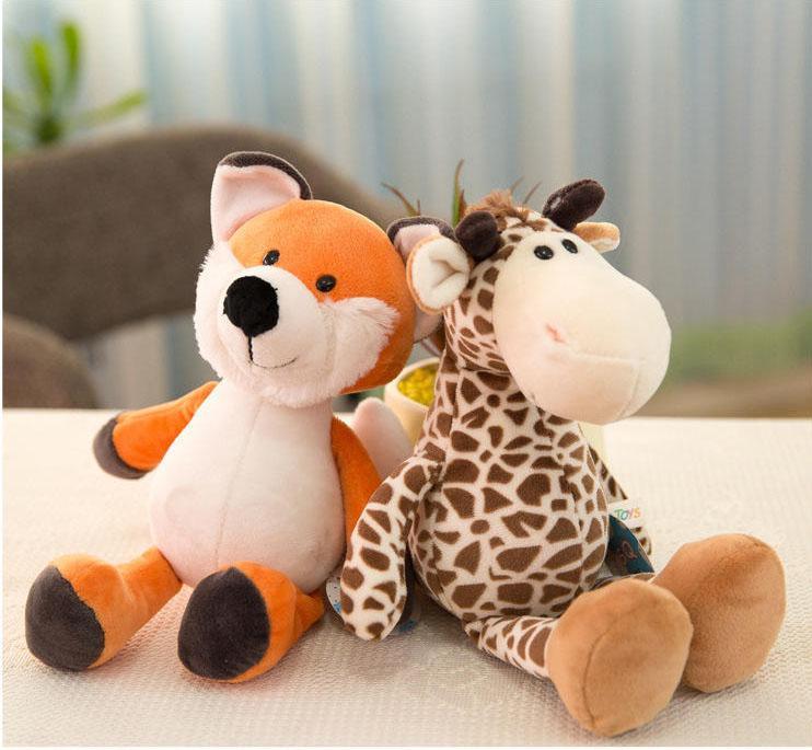 25 / 35cm Macaco Elephant Forest Animals Mundial Stuffed Plush Doll macia Lion Animal Plush Toys presentes Crianças de aniversário