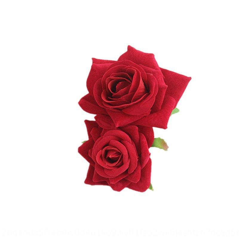 New Red simulation Artificial artificial simulation flower flower side clip New bridesmaid hair plate headdress double flannel rose hairpin