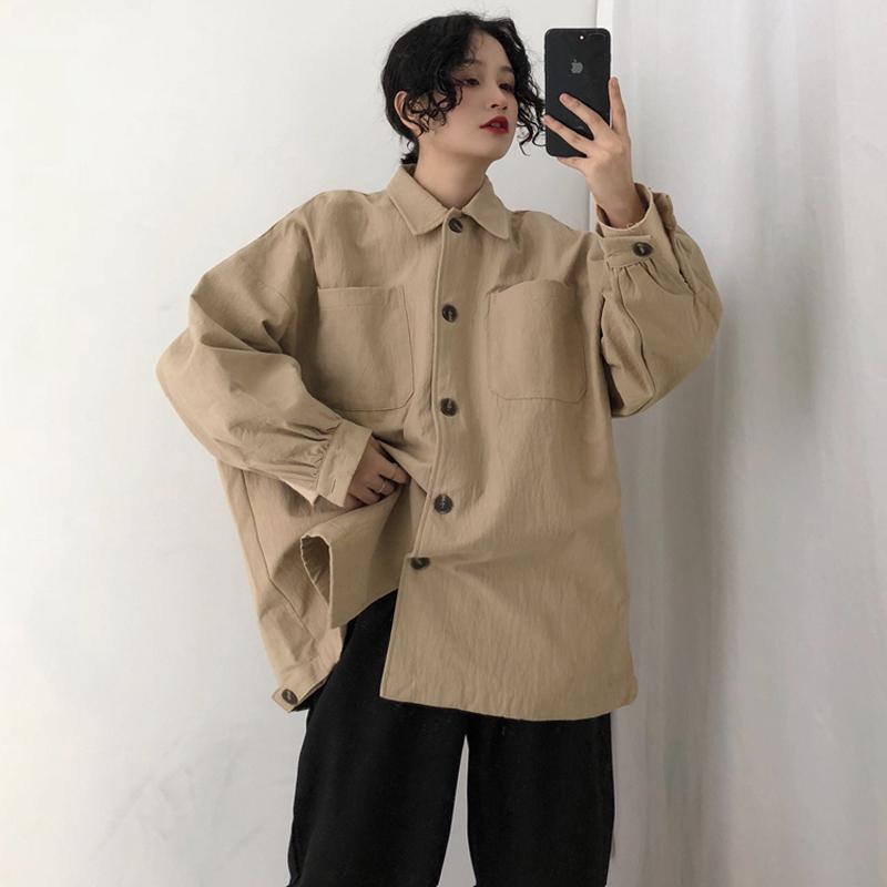 Gevşek Kadınlar Coats Ve Ceketler Katı Bütün Maç Uzun Siyah Ceket Bayan Boy Giyim Kore Streetwear Yüksek Kalite Şık