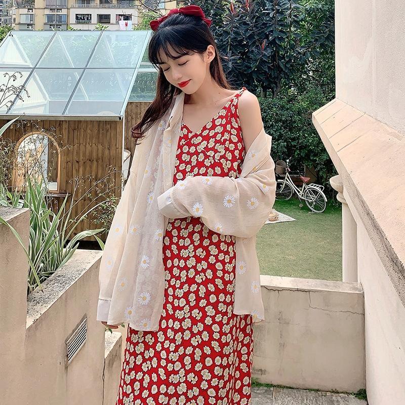 g2e2C bOzlt koreanischen Stil Kleid Daisy nette Hipster Blumen Sommer Frauen koreanischen Stil Daisy V-Ausschnitt Hipster niedlichen Blumen-V-Ausschnitt Frauen-Sommer