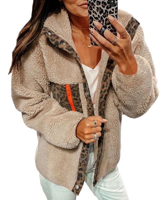Seksi Leopard Patchwork ceketler Aşağı Yaka Tek Breasted Sonbahar Kış Hırka Coats Düz Casual Streetwear Giyim çevirin