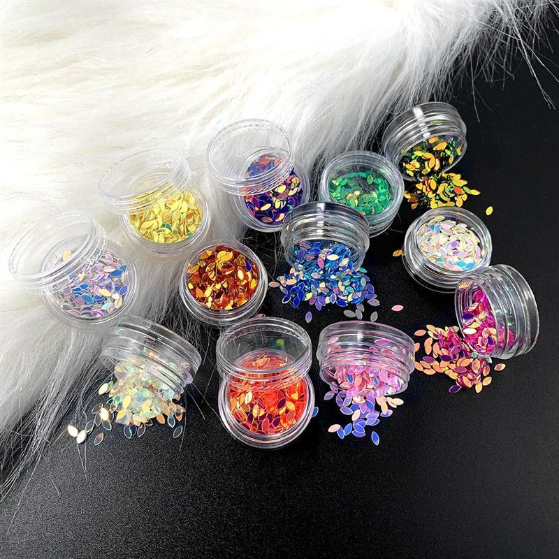 12 Bottles Resin Jewelry Fillings Flat Round PVC Loose Sequins for Crafts Paillettes Sewing Decoration Epoxy for DIY Accessories