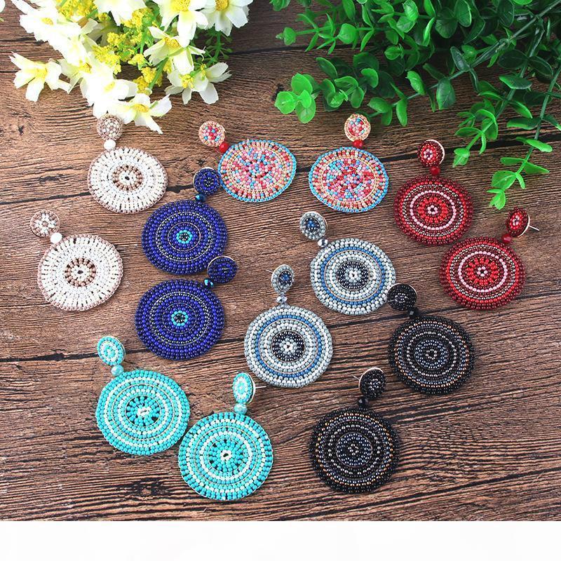 7 Cores Bohemian Handmade Brincos para Mulheres Meninas coloridas Arroz Bead Gota Dangle Chandelier Eardrop acessórios jóia por atacado