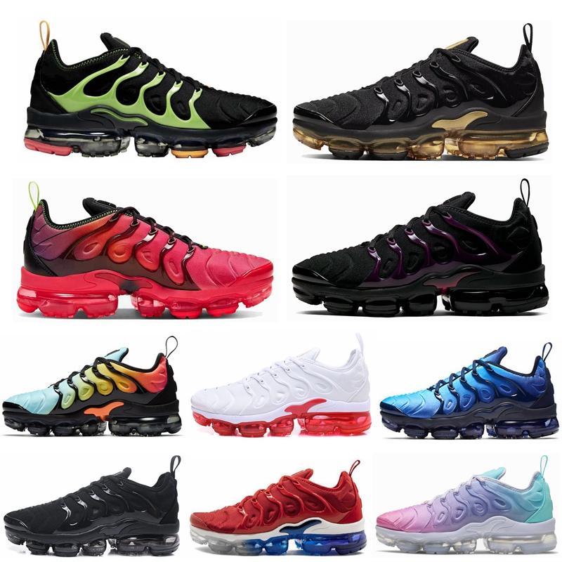 Nuevo Juego Real TN Plus para hombre de las mujeres de los zapatos corrientes de zapatos Triple Negro Blanco Naranja Mandarina EE.UU. menta uva voltios Hyper Violeta deportes al aire libre