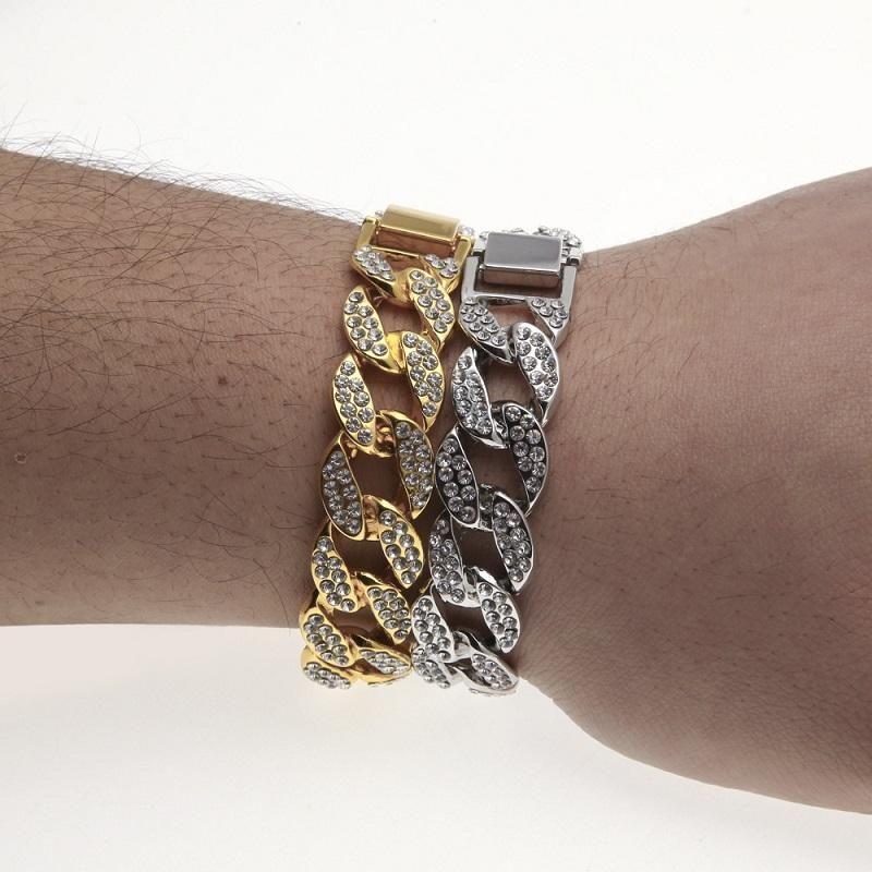Hommes Glacé or Bracelet d'argent cubain lien chaîne Bracelets strass Fashion Bracelet Hip Hop Bijoux