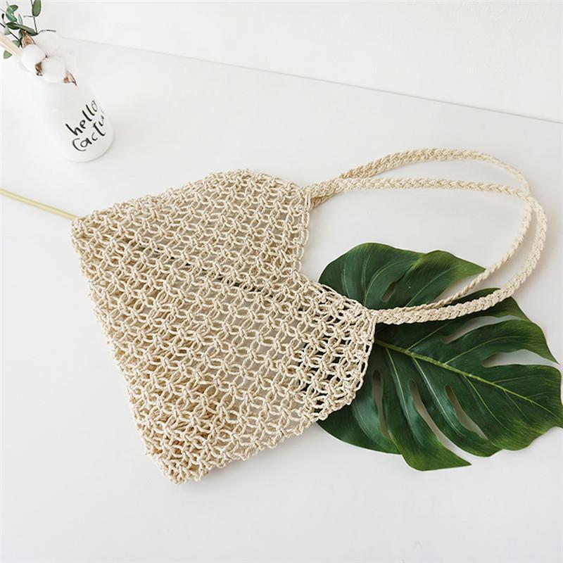 Creux Fille Chic Summer Straw épaule Messenger Bag 2020 Ins Femmes Holiday Beach Pêche Retro-Tissés à la main net Sac à main sauvage