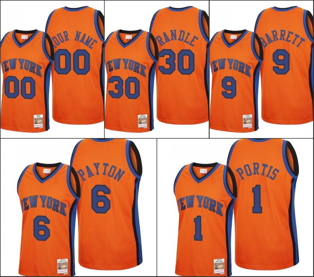 Nueva YorkKnicksHombres R. J. Barrett Elfrid Payton Bobby Portis Julius RandleNBA 2020 Recargar clásico Jersey personalizado Naranja