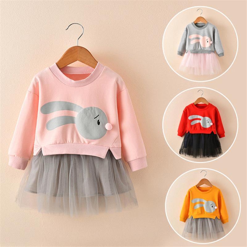 2020 Весна Осень Повседневная Длинные рукава Infant партия принцессы Детские Для девочек Детские рождения платье LJ200923