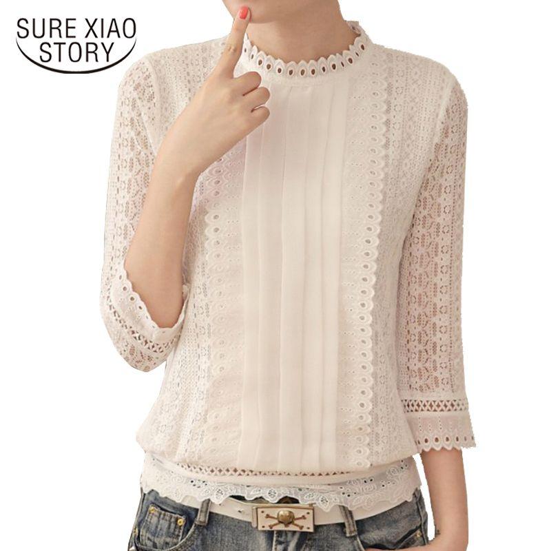 Yeni Kadın Bluzlar Kore Stil Bayan Şifon Gömlek 2020 Sonbahar Üç Çeyrek Sleeve Yaka Giyim Standı Artı boyutu 61J 25 CX200820 Tops