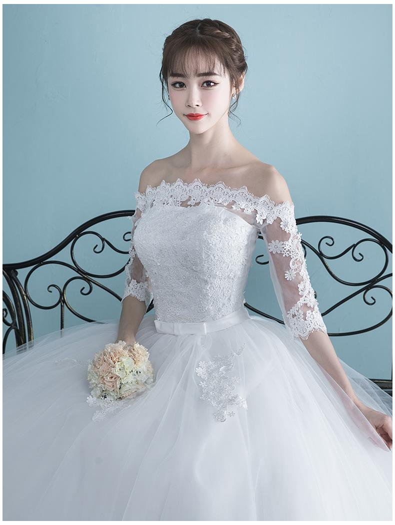 Vestidos Boat Neck Bride Married Dress Long Sleeve Simple Large Size Ball Gowns Tulle Wedding Dresses De Novia New Lace up