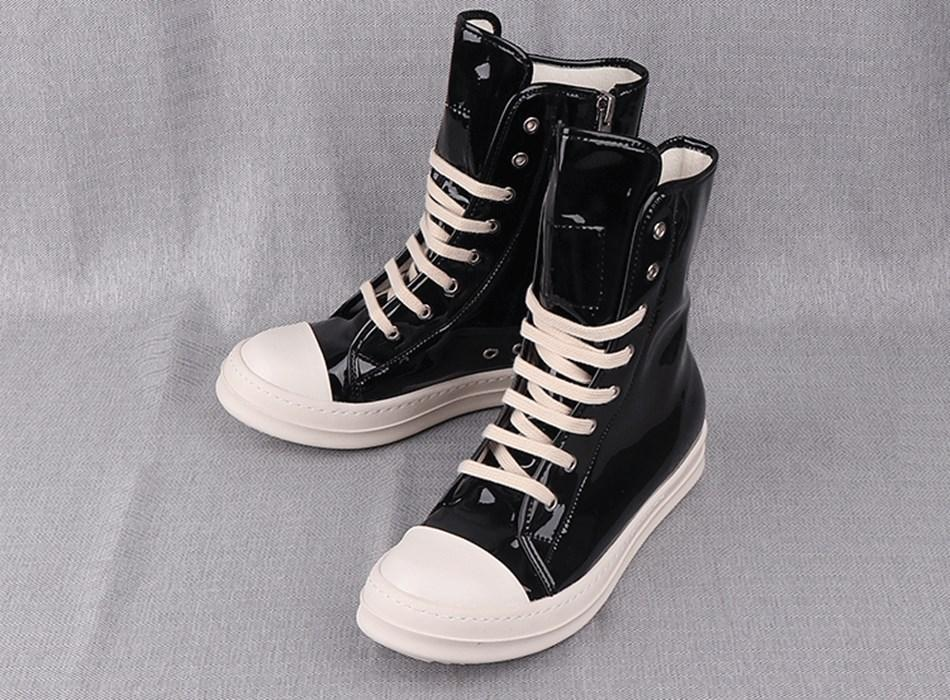 High-top shoes male hip-hop gd leather high-top shoes tide male paint plating black sport casual female tide boots