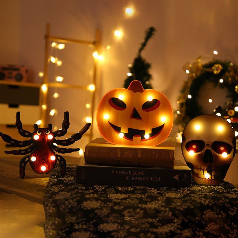 Halloween Luzes pilhas Crânio Bat Sala Principal Decorações de Halloween Modeling Decoração Luz abóbora Aranha Night Light