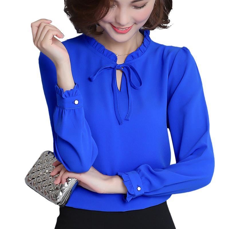 Frauen Blusen Hemden Hemd Frauen Frühling Herbst Frau Chiffon Bluse Langarm Rüschenkragen Mode Tops Kleidung Plus Größe XXXL