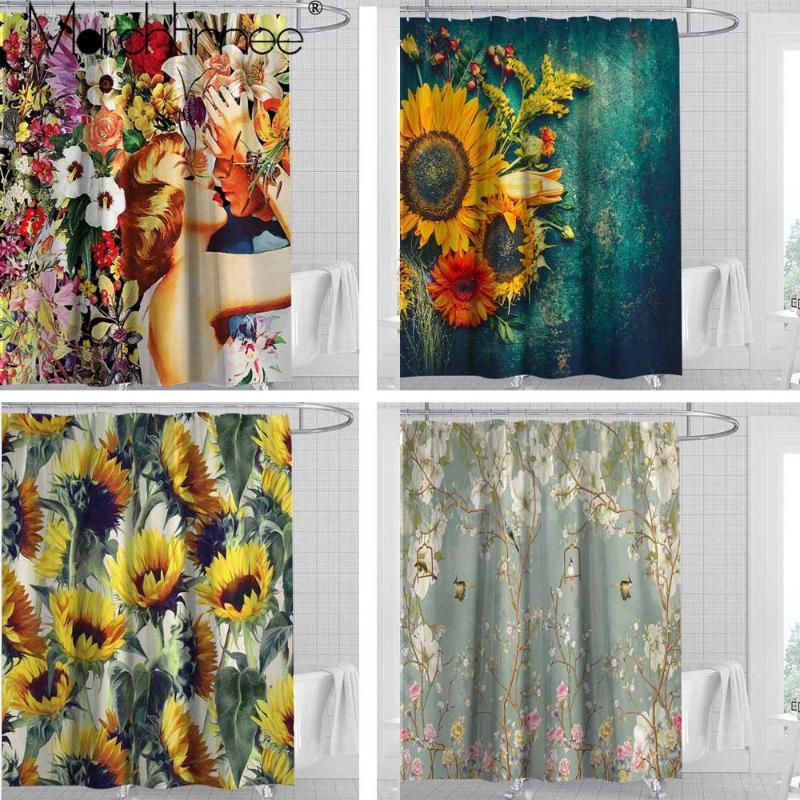 Rosa Baum Duschvorhang Teppiche Toilette Bad 3D Bunte Blumen Tropische Pflanzen Wasserdichtes Duschvorhang Polyester-Gewebe