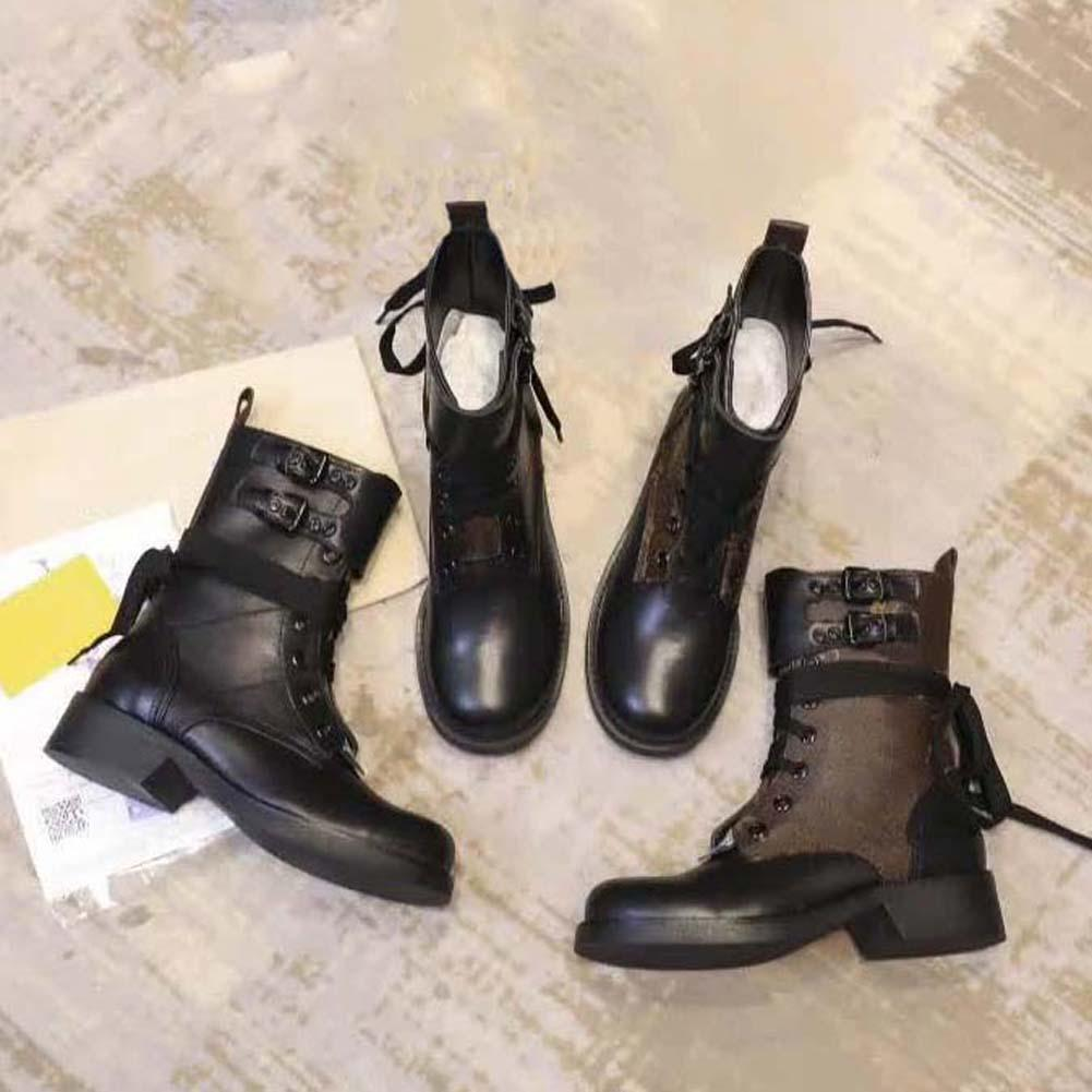 Estrella de la moda de cuero de zapatos de mujer de cuero mujer de marca de moda de invierno tobillo corta otoño mujeres botas de 01 L29
