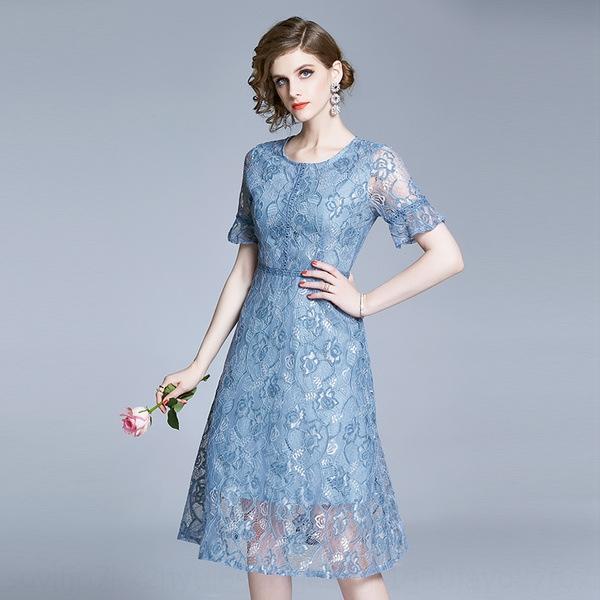 skHGK bo594 elegante a metà lunghezza del collo cucitura 2020 delle donne di pizzo merletto rotondo vestito linea A- linea vestito nuovo Estate A-