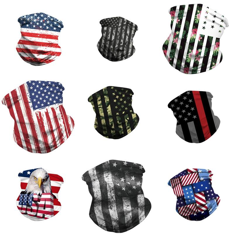 Nouveau spot drapeau américain entourant l'impression numérique 3D en plein air équitation voile magique multifonction masque poussière DHB1086