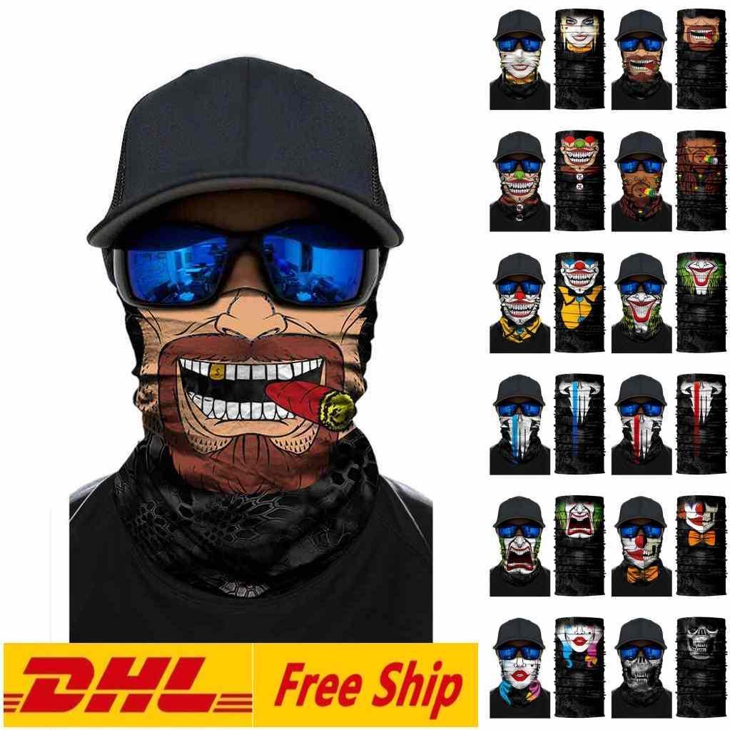 DHL GEMİ Unisex Yetişkin Noel Cadılar Bayramı Yüz Kayak Motosiklet Bisiklet Balık Açık Sports Eşarp Ünlü Kafa Sihirli Maskeler Maske