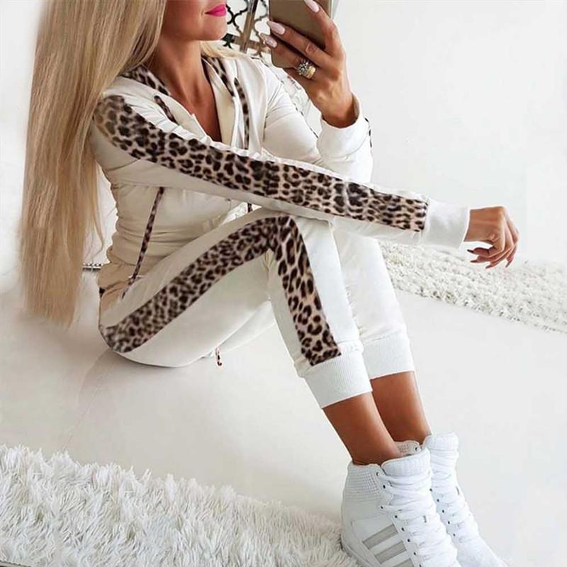 Moda 2 adet Kadın Leopar Uzun Kollu Kapşonlu Spor Tops Pantolon Eşofman Kadın Kazak Ter Rahat İki Renkli Suit Koşu Takım Elbise