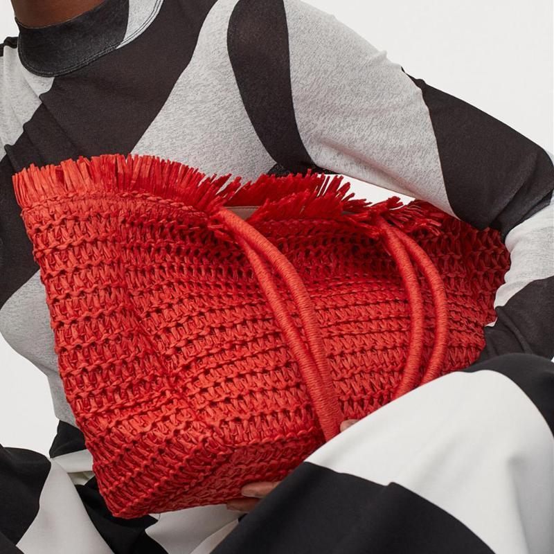 Çanta Püskül Moda Kavramalar Tasarımcı Hasır Saman Dokuma Çanta Kadınlar El Yapımı Çanta Bayan Yaz Kılıf Büyük Plaj Büyük Luceqo