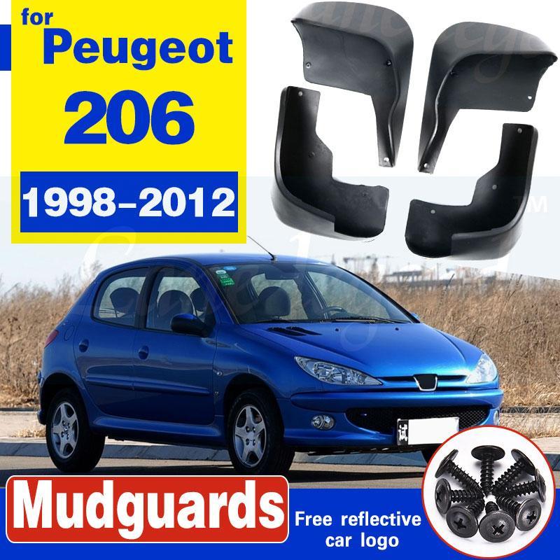 4pcs voiture Fender Flares boue arrière Bavettes avant Rabats boue Splash Guards garde-boue pour Peugeot 206 1998-2012
