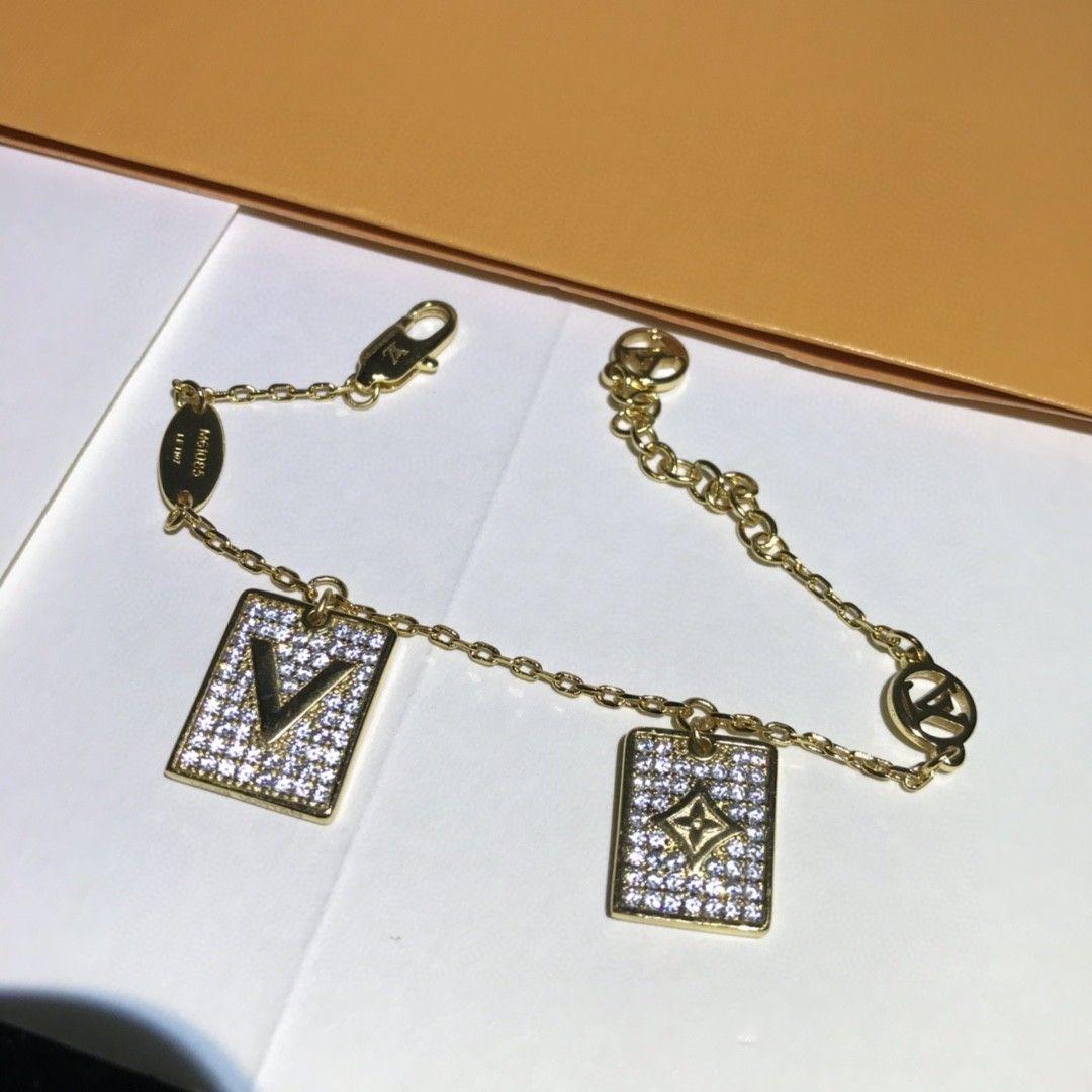 Heißer Verkauf neuer Doppel-Tag Diamant Brief Modedesigner Armband