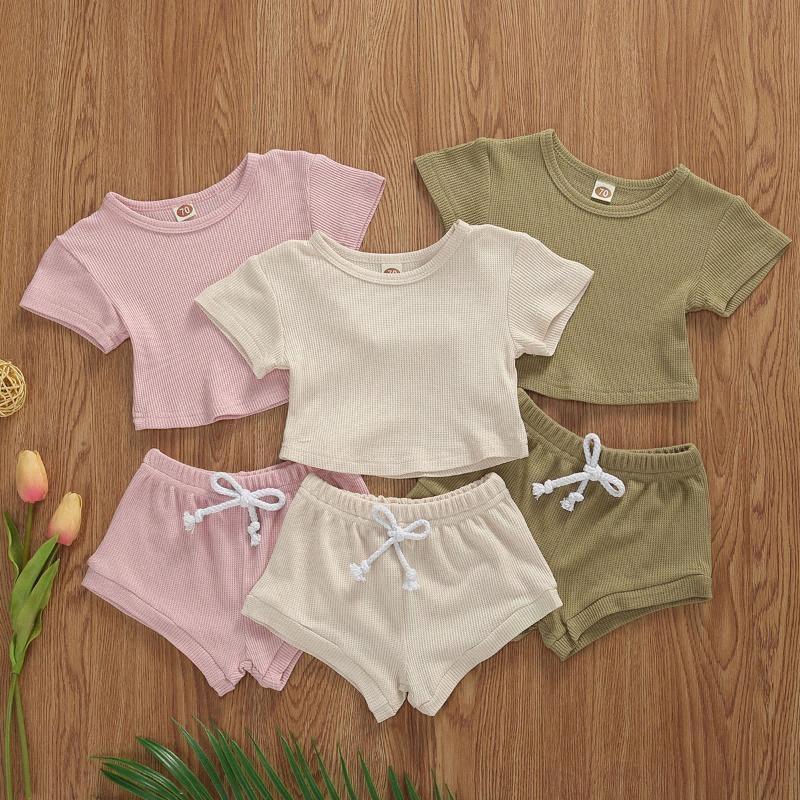 0-24М Малыш Детские Мальчики лето насечками трикотажной одежды для новорожденных младенцев мальчиков девочек с коротким рукавом футболки Топы + Шорты Брюки ГМПИ #