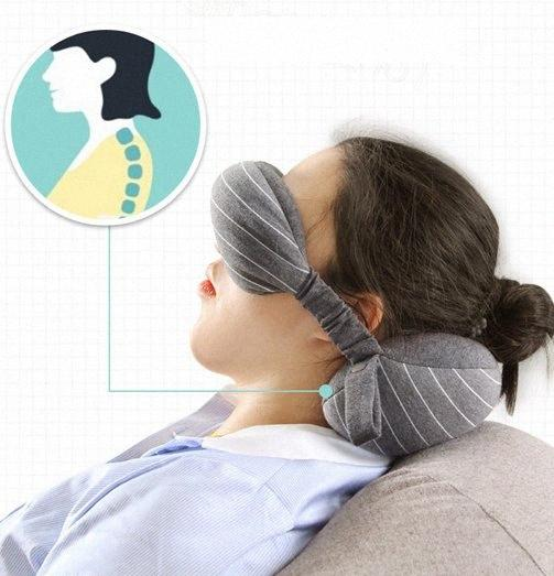 2 in 1 Neck Pillow Eye Mask Portable Travel Head Neck Cushion Flight Sleep Rest Blackout Goggles Blindfold Shade pillow party favor FF VXyD#