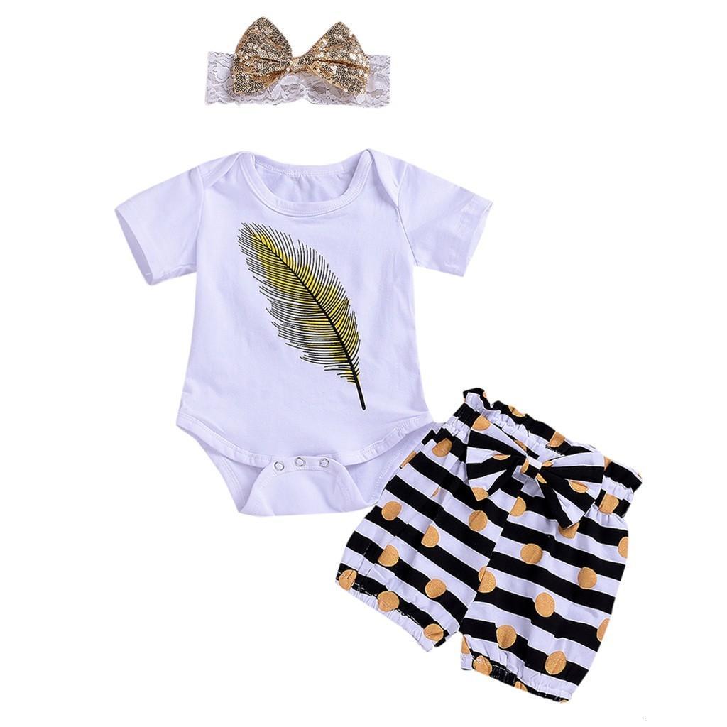 Apuramento Excelente MAIS NOVO bebê lindo meninas 3PCS da criança do bebê manga curta pena Romper + Stripe Shorts + Headbands Set Outfit Z0214