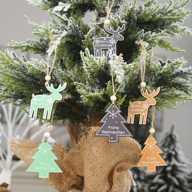 ciondolo Sckday l'artigianato in legno verniciato verde / nero / cachi alce ornamento albero di Natale con la cordicella per 2021 Decorazione di natale 2pack